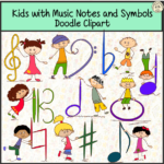 Kids with Music Notes and Symbols Doodle Clipart #1 set contains:
