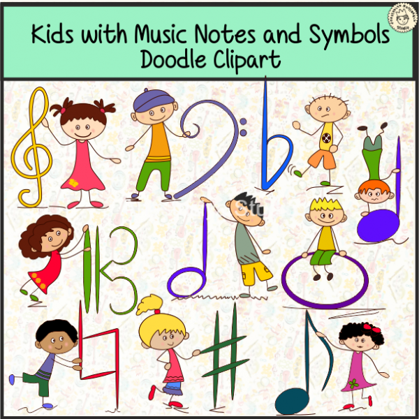 Kids With Music Notes And Symbols Doodle Clipart 1 Anastasiya