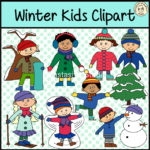 Winter Kids Clipart set contains: