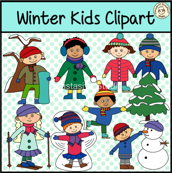 winter kids clipart