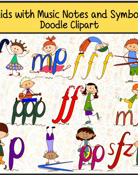 Kids with Music Notes and Symbols Doodle Clipart #2 set contains: