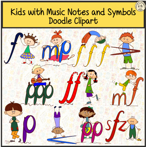 Kids with Music Notes and Symbols Doodle Clipart #2 cover