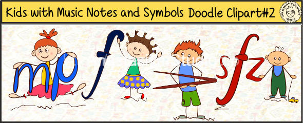 Kids with Music Notes and Symbols Doodle Clipart #2