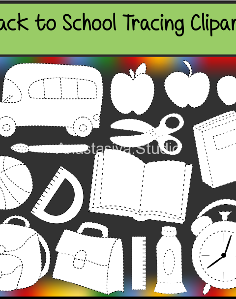 Back to school tracing clipart set contains:  ~38 .png black and white images. ~38 .jpeg black and white.  High quality graphics. 300 dpi. For personal or commercial use.