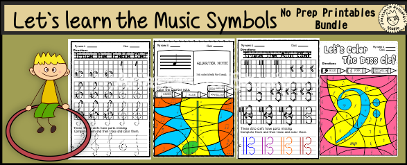 Let`s Learn the Music Symbols {No Prep Printables Bundle}