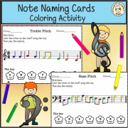 Note Naming Cards Coloring Activity