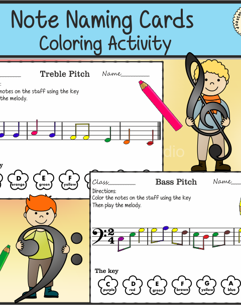 Easy and fun music note naming coloring activity for kids: Color the notes on the staff using the color key.