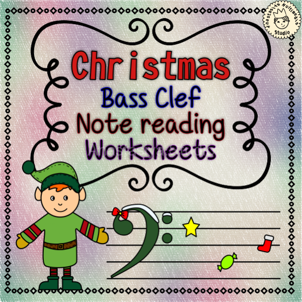 Christmas Bass Clef Note Reading Worksheets