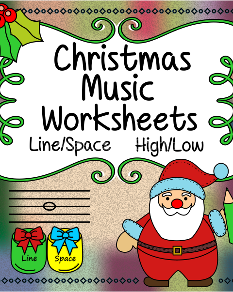 This set of 20 Music worksheets Christmas themed is designed to help your students practice identifying whether a pitch is on a line or in a space and practice high/low pitches.