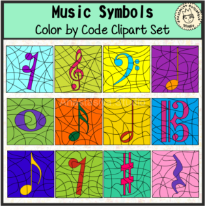 Music Symbols Color By Code Clipart