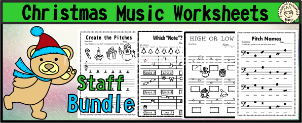 Christmas Music Worksheets Staff Bundle
