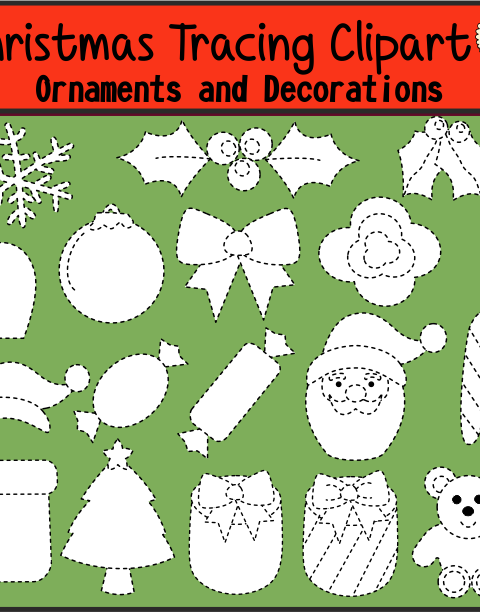 Christmas Tracing Clipart {Ornaments and Decorations} contains: ~30 .png black and white images. ~30 .jpeg black and white. High quality graphics. 300 dpi. For personal or commercial use.