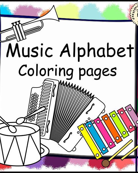 This file (in PDF form) contains 26 musical instrument coloring pages. Each page contains an instrument picture to color and name of the instrument.