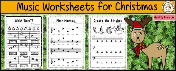 Music Worksheets for Christmas {Weekly Freebies}
