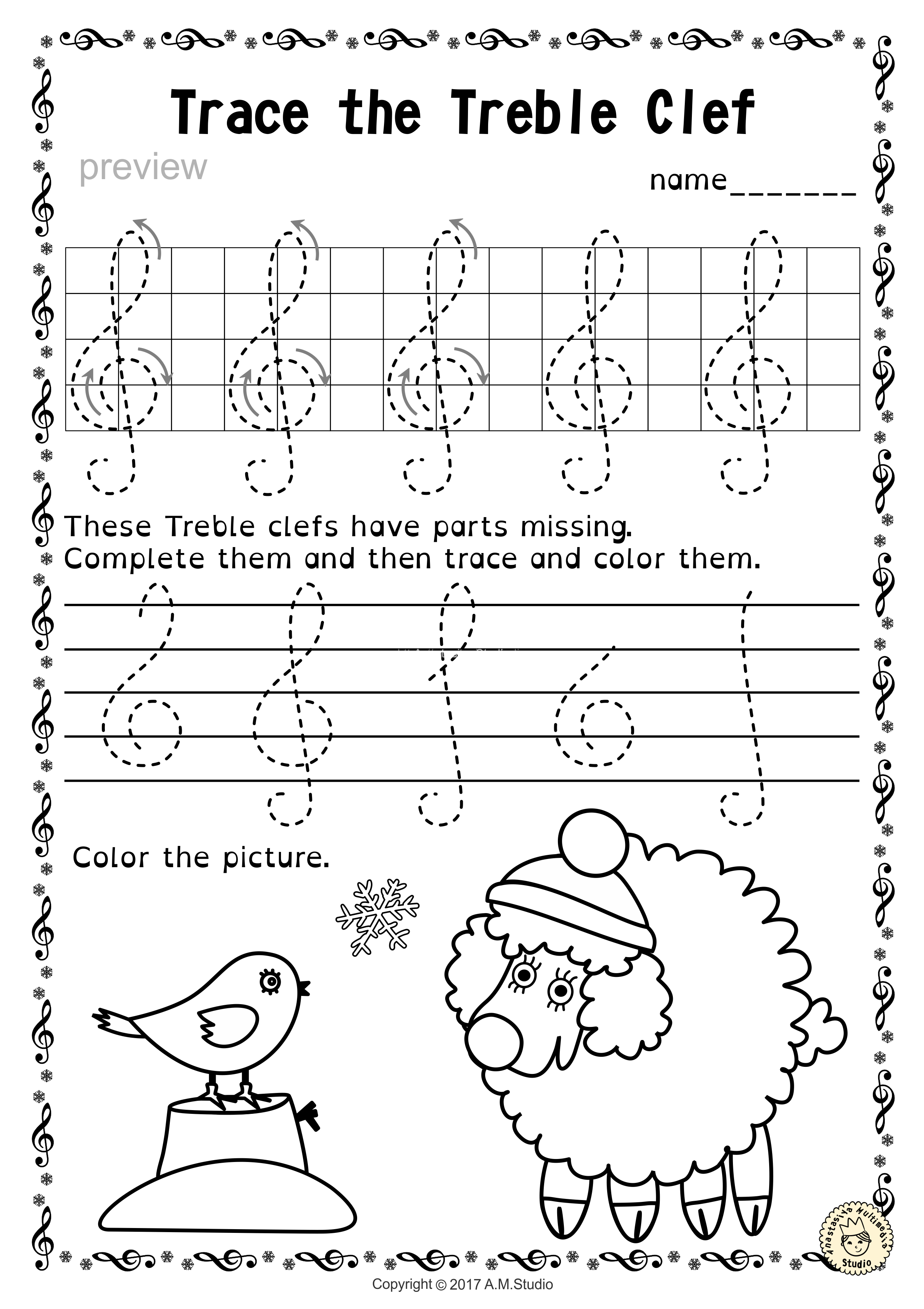 tracing music notes worksheets for winter and christmas1