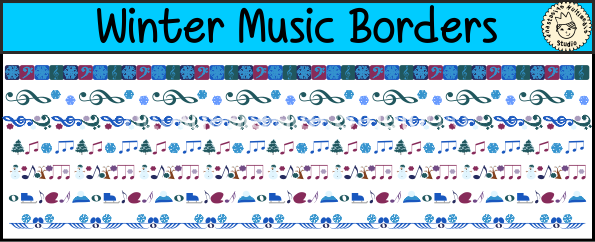 Winter Music Borders Clipart