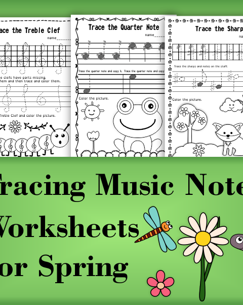 A set of 20 spring themed music worksheets is created to help your students learn to trace, copy, color and draw symbols, notes and rests commonly used in music. Practice in copying them onto their positions on the staff is provided in large size.