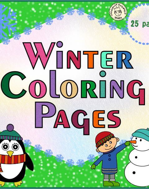 This coloring set includes 25 winter themed coloring pages for kids.