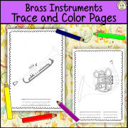 Brass Orchestra Instruments Trace and Color Pages