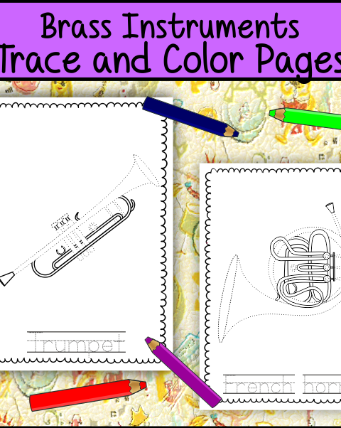 This file (in PDF form) contains 7 Brass Instruments trace and coloring pages. Each page contains an instrument picture to trace and color and the name of the instrument.