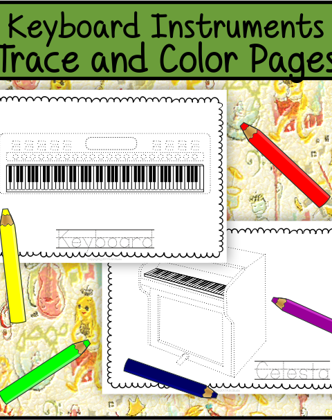 This file (in PDF form) contains 7 Keyboard Musical Instruments trace and coloring pages. Each page contains an instrument picture to trace and color and the name of the instrument.