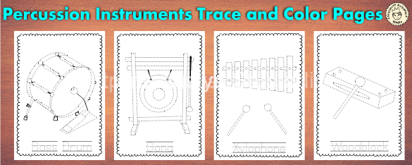 Percussion Musical Instruments Trace and Color Pages