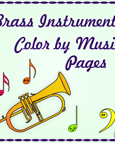 This set contains 7 images of Brass Instruments – (Bugle, Cornet, Flugelhorn, French horn, Trombone, Trumpet, Tuba.) in 3 different formats (21 pages in total):