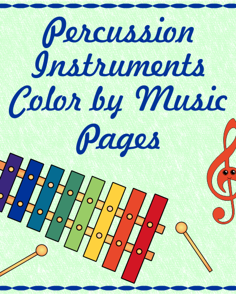 This set contains 16 images of Percussion Instruments – (Bass Drum, Chime Tree, Cymbals, Castanets, Gong, Glockenspiel, Hi-hat, Kettle Drum, Maracas, Marimba, Snare Drum, Tambourine, Triangle, Tubular Bells, Woodblock, Xylophone) in 3 different formats (48 pages in total):  1<sup>st</sup> set – for younger students – the note and symbol matches the notes and symbol in the picture.  2<sup>nd</sup> set – for older students – the note and symbols names are given below.  3<sup>rd</sup> set – students color the picture using own color key.