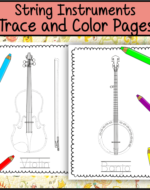 This file (in PDF form) contains 10 String Instruments trace and coloring pages. Each page contains an instrument picture to trace and color and name of the instrument. This will help your students become familiar with the various string instruments.