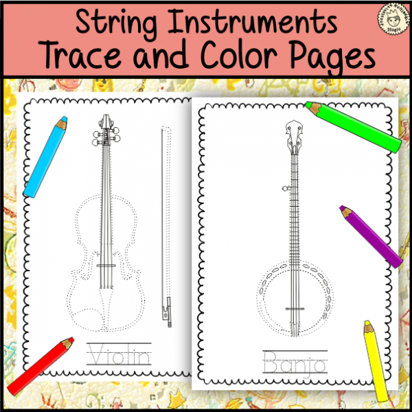 Music Worksheets String Instruments Trace And Color Page Instrument Pages