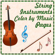String Instruments Color by Music Pages