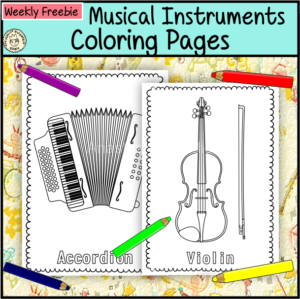 Weekly Freebies Musical Instruments Coloring Pages