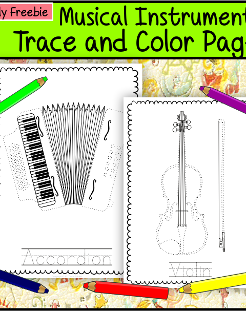 This file (in PDF form) contains 5 Musical Instruments trace and coloring pages. Each page contains an instrument picture to trace and color and the name of the instrument.