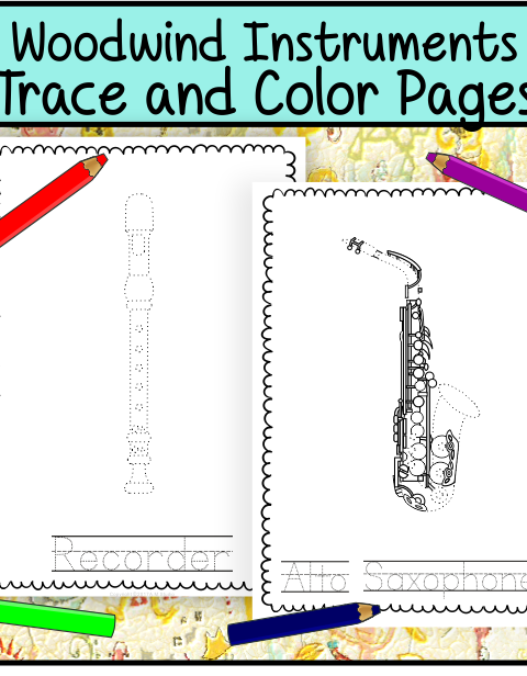 This file (in PDF form) contains 15 Woodwind Instruments trace and coloring pages. Each page contains an instrument picture to trace and color and name of the instrument.