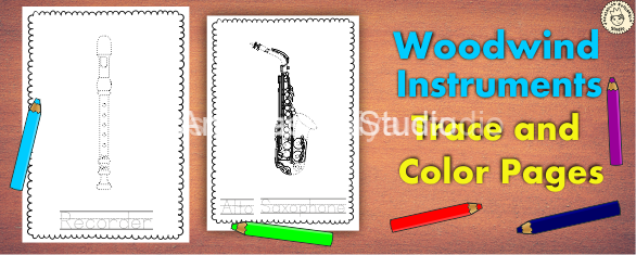 Woodwind Musical Instrument Trace and Color Pages