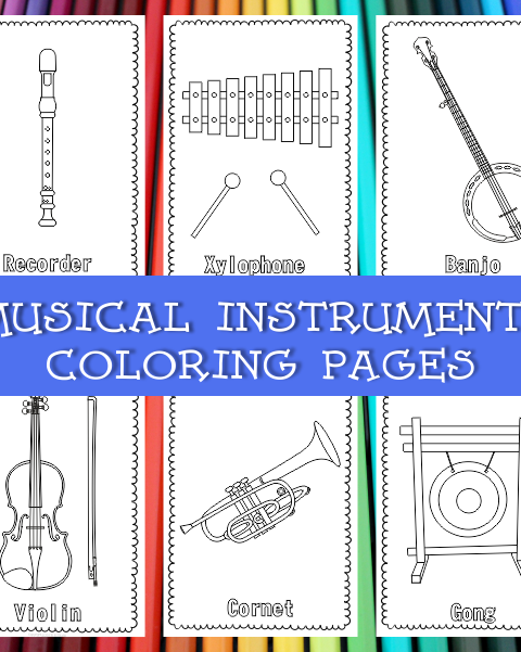 This resource contains 55 musical instrument coloring pages (individual images). Each page contains an instrument picture to color and name of the instrument.