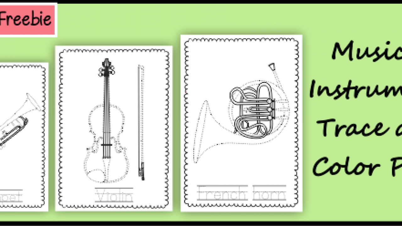 Musical Instruments Trace and Color Pages {Weekly Freebies