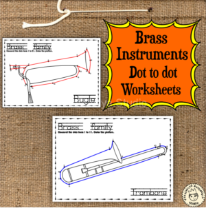 Brass Instruments Dot to dot worksheets