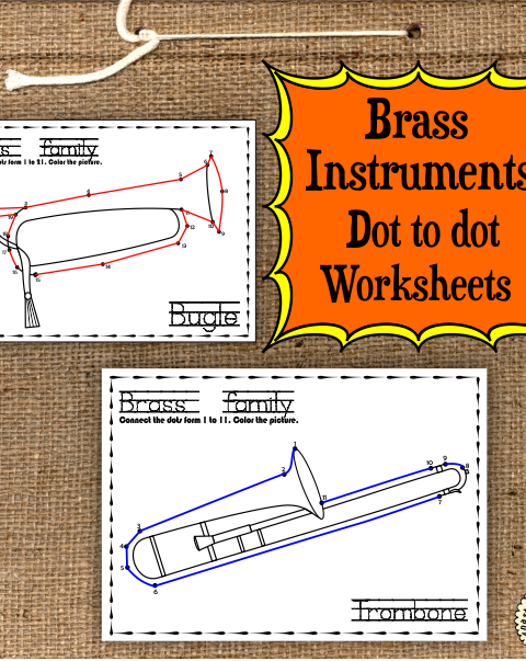 This file (in PDF form) contains 7 Brass Instruments dot to dots worksheets.