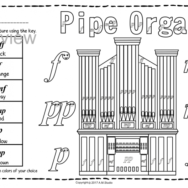 Keyboard instruments color by music pages anastasiya for Harpsichord coloring page