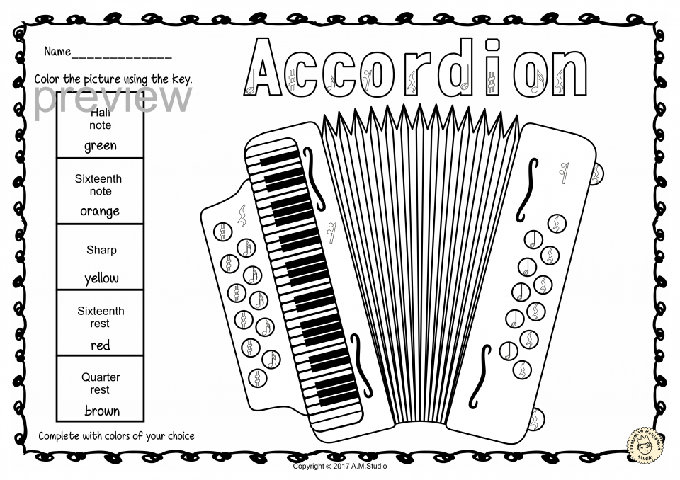Keyboard Instruments Color by Music Pages set 2 (Symbol-Term