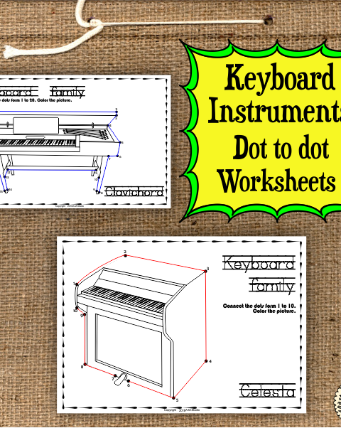 This file (in PDF form) contains 7 Keyboard Instruments dot to dots worksheets.