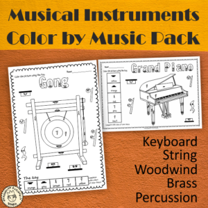 Musical Instruments Color by Music Pack