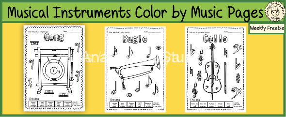 Musical Instruments Color by Music Pages {Weekly Freebies}