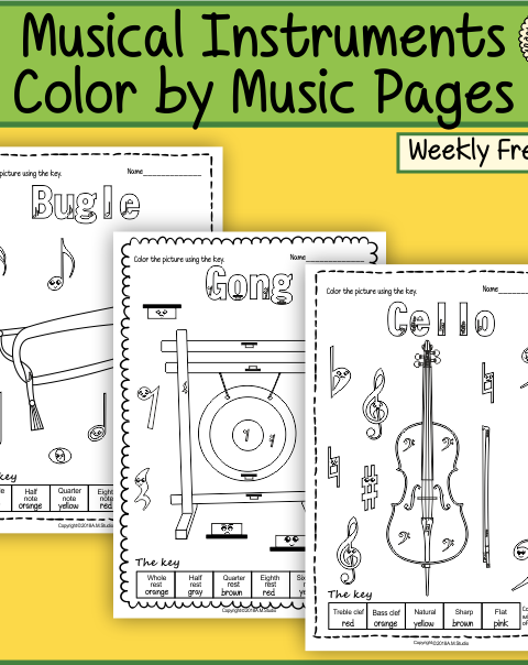This file (in PDF form) contains 5 color by music pages.