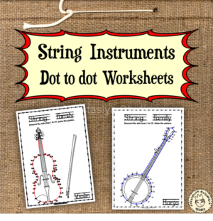 String Instruments Dot to dot Worksheets