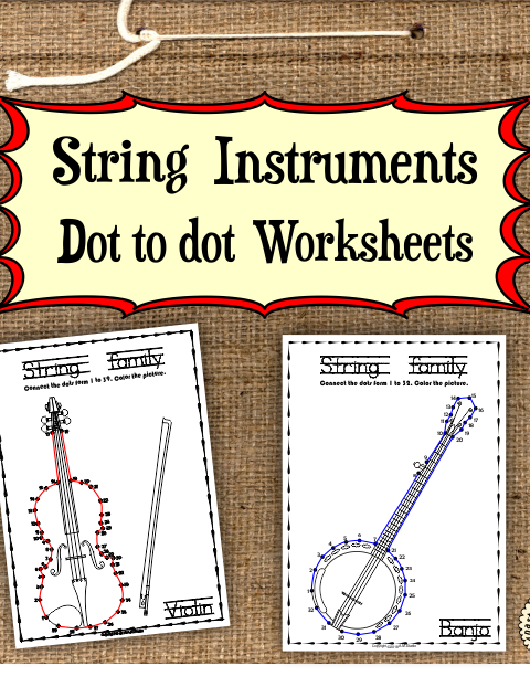 This file (in PDF form) contains 10 String Instruments dot to dots worksheets.