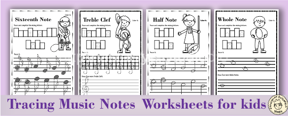 Tracing Music Notes Worksheets for kids