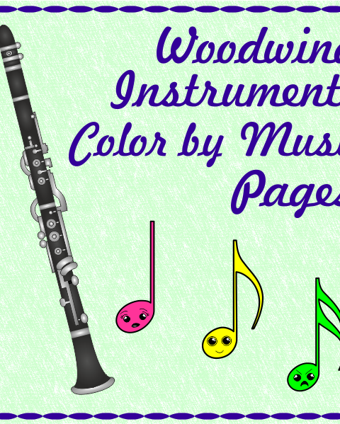 This set contains 15 designs of Woodwind Instruments (Bassoon Reed, Oboe Reed, Recorder, Bassoon, English horn, Oboe, Alto Saxophone, Tenor Saxophone, Baritone Saxophone, Clarinet, Bass Clarinet, Flute, Piccolo, Bagpipes, and Panpipe) in 3 different formats (45 pages in total):  1 set - for younger students - the note and symbol matches the notes and symbol in the picture. 2 set - for older students – the note and symbols names are given below. 3 set – students color the picture using own color key.