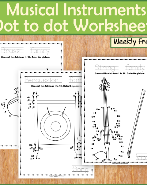 This file (in PDF form) contains 5 Musical Instruments Dot to dot Worksheets.